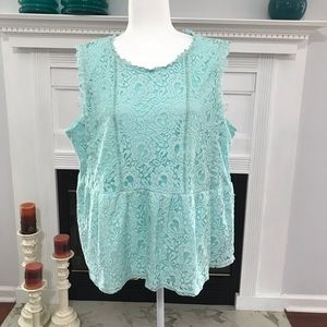 Andree By Unit Green Mint Lace Sleeveless Top  1X